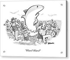 Someone Has Just Yelled Shark! At The Beach Acrylic Print
