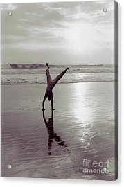 Acrylic Print featuring the photograph Somersalting On Bali Black Sand Beach 2 by Mukta Gupta