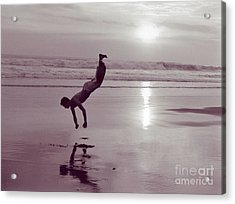 Acrylic Print featuring the photograph Somersalting On Bali Black Sand Beach by Mukta Gupta