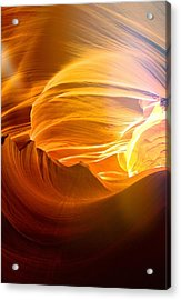 Acrylic Print featuring the photograph Somewhere In America Series - Gold Colors In Antelope Canyon by Lilia D