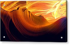 Acrylic Print featuring the photograph Somewhere In America Series - Golden Yellow Light In Antelope Canyon by Lilia D