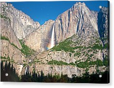 Somewhere Under The Moonbow At Yosemite Falls Acrylic Print by Steven Barrows