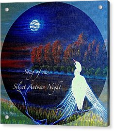 Song Of The Silent  Autumn Night In The Round With Text  Acrylic Print