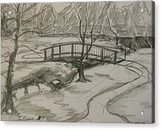 Sope Creek Bridge Acrylic Print by Gretchen Allen