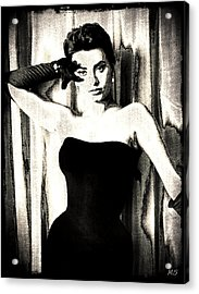 Sophia Loren - Black And White Acrylic Print