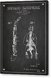 Soprano Saxophone Patent From 1926 - Charcoal Acrylic Print