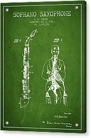 Soprano Saxophone Patent From 1926 - Green Acrylic Print