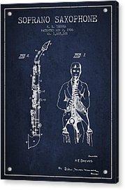 Soprano Saxophone Patent From 1926 - Navy Blue Acrylic Print