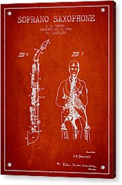 Soprano Saxophone Patent From 1926 - Red Acrylic Print