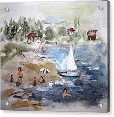 Sore Thumb Beach Acrylic Print by Mary Spyridon Thompson
