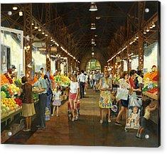 Soulard Market Girl Pulling Wagon Acrylic Print by Don  Langeneckert