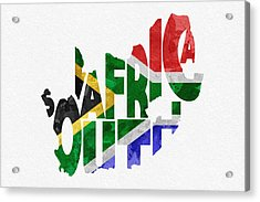 South Africa Typographic Map Flag Acrylic Print by Ayse Deniz