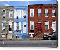 Acrylic Print featuring the photograph South Baltimore Row Homes by Brian Wallace