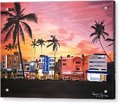 Acrylic Print featuring the painting South Beach Ocean Drive by Kevin F Heuman