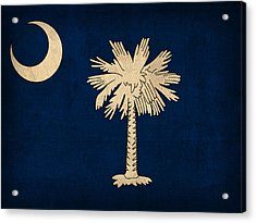 South Carolina State Flag Art On Worn Canvas Acrylic Print by Design Turnpike