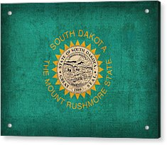 South Dakota State Flag Art On Worn Canvas Acrylic Print by Design Turnpike