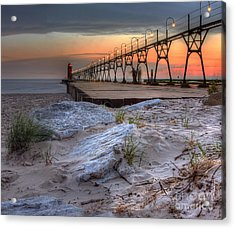 South Haven Beach And Lighthouse Acrylic Print