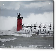 South Haven Pier Light In A Storm Acrylic Print