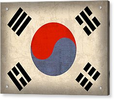 South Korea Flag Vintage Distressed Finish Acrylic Print by Design Turnpike