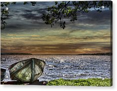 South Manistique Lake With Rowboat Acrylic Print by Evie Carrier