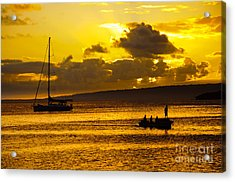 South Sea Sunset - Ferry And Yacht At Port Vila - Vanuatu - South Pacific.  Acrylic Print