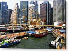 South Street Seaport -nyc Acrylic Print by Linda  Parker