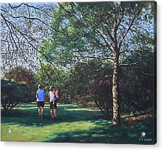 Southampton People In Park Acrylic Print by Martin Davey