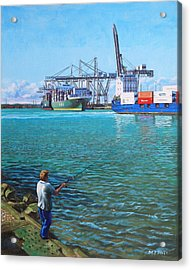 Southampton Western Docks Container Terminal As Seen From Marchwood Acrylic Print