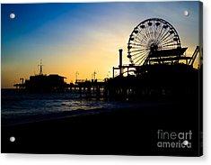 Southern California Santa Monica Pier Sunset Acrylic Print by Paul Velgos