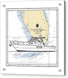 Yacht On A Key West Chart Acrylic Print