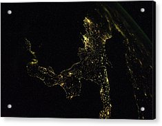 Southern Italy At Night From Space Acrylic Print