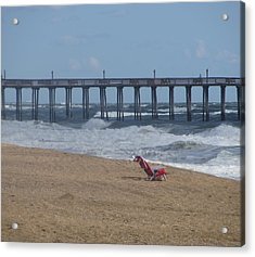 Southern Shores Pier And Chair Acrylic Print by Cathy Lindsey