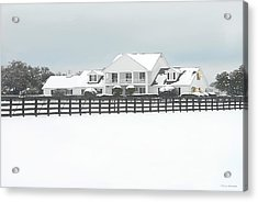 Acrylic Print featuring the photograph Snow Covered Southfork Ranch   by Dyle   Warren