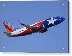 Southwest Boeing 737-3h4 N352sw Lone Star One Taking Off Phoenix Sky Harbor March 6 2015  Acrylic Print by Brian Lockett