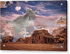 Southwest Navajo Rock House And Lightning Strikes Hdr Acrylic Print