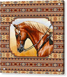 Southwestern Quarter Horse Pillow Acrylic Print by Crista Forest