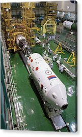 Soyuz Rocket Preparation Acrylic Print by Nasa/victor Zelentsov