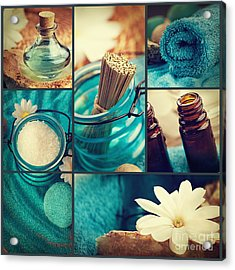 Spa Collage Acrylic Print by Mythja  Photography
