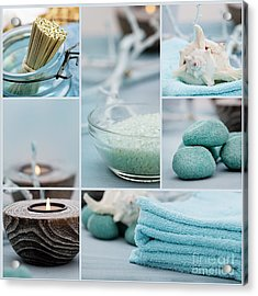 Spa Purity Collage Acrylic Print by Mythja  Photography
