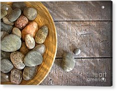 Spa Rocks In Wooden Bowl On Rustic Wood Acrylic Print