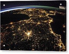 Space And France At Night Acrylic Print by Nasa