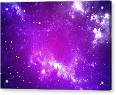 Space Background With Purple Nebula And Stars Acrylic Print by Peter Jurik