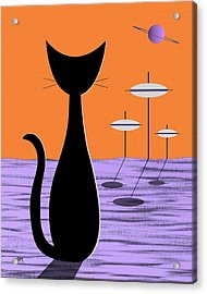 Space Cat Orange Sky Acrylic Print