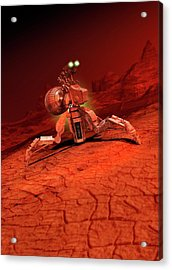 Space Craft Landing On A Red Planet Acrylic Print by Victor Habbick Visions