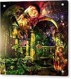 Acrylic Print featuring the mixed media Space Garden by Ally  White
