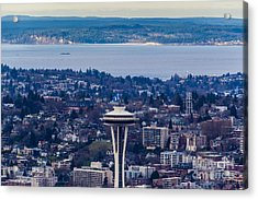 Space Needle 12th Man Seahawks Acrylic Print by Mike Reid
