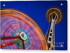 Space Needle And Wheel Acrylic Print by Inge Johnsson