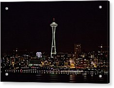 Space Needle At Night Acrylic Print by Marv Russell