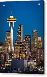 Space Needle Evening Acrylic Print by Inge Johnsson
