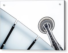 Space Needle On White Acrylic Print by Wade Brooks